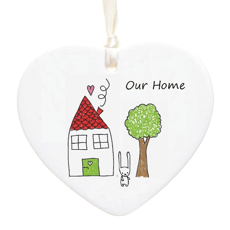 childs artwork ceramic heart personalised christmas tree decoration